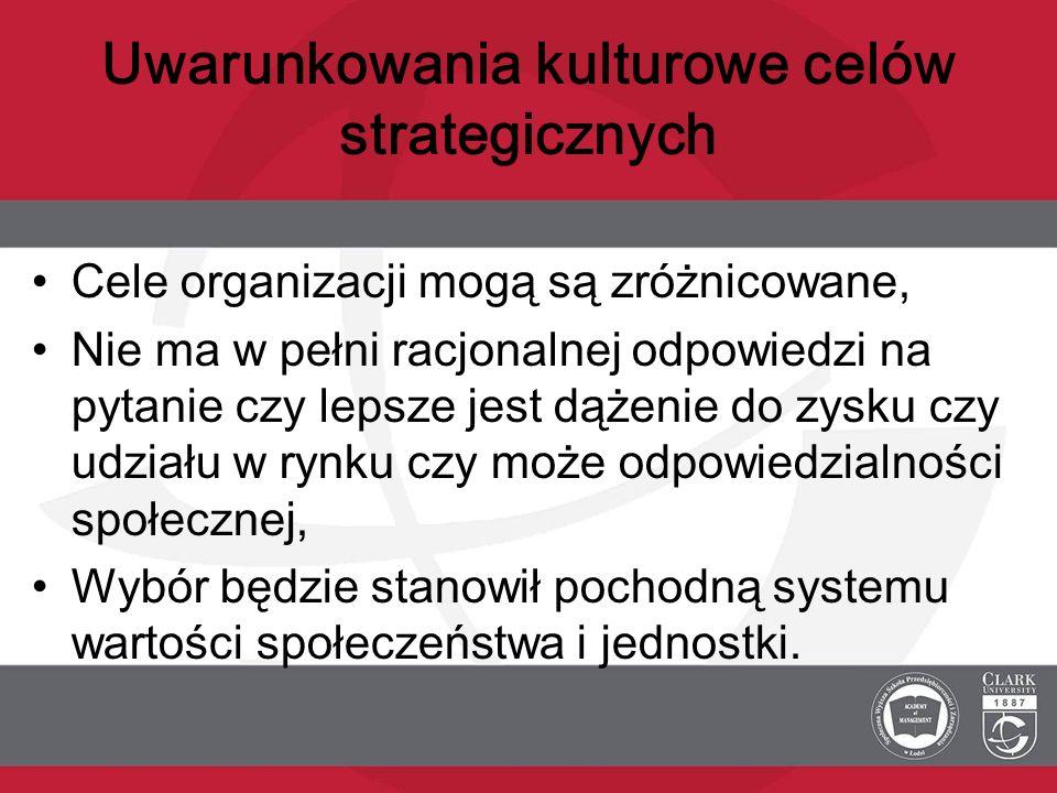 Uwarunkowania kulturowe celów strategicznych Cele organizacji mogą są zróżnicowane, Nie ma w pełni racjonalnej odpowiedzi na pytanie czy lepsze jest d