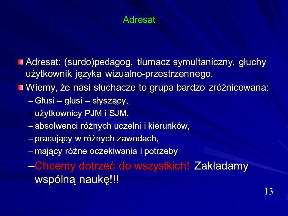 Adresat Adresat: (surdo)pedagog, tłumacz symultaniczny, głuchy użytkownik języka wizualno-przestrzennego. Wiemy, że nasi słuchacze to grupa bardzo zró