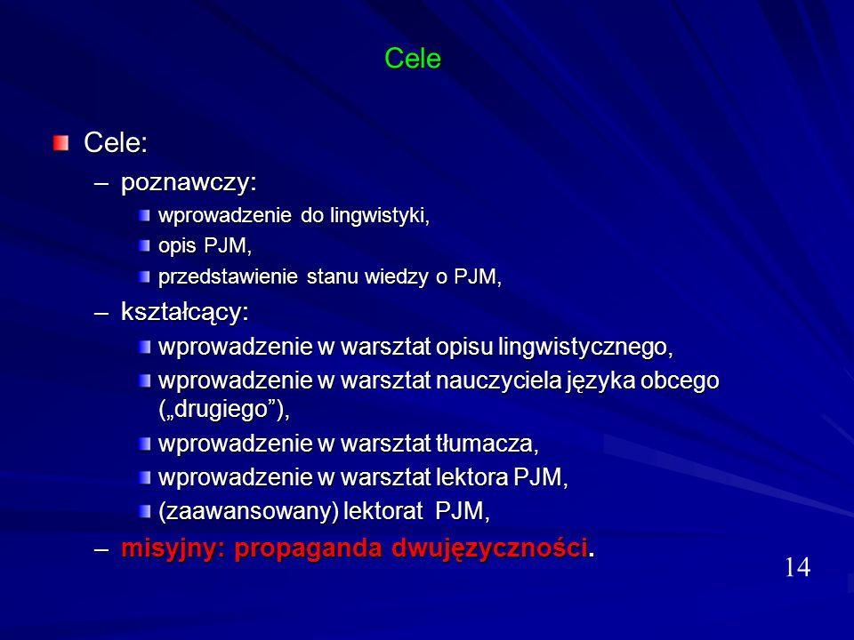 Cele Cele: –poznawczy: wprowadzenie do lingwistyki, opis PJM, przedstawienie stanu wiedzy o PJM, –kształcący: wprowadzenie w warsztat opisu lingwistyc