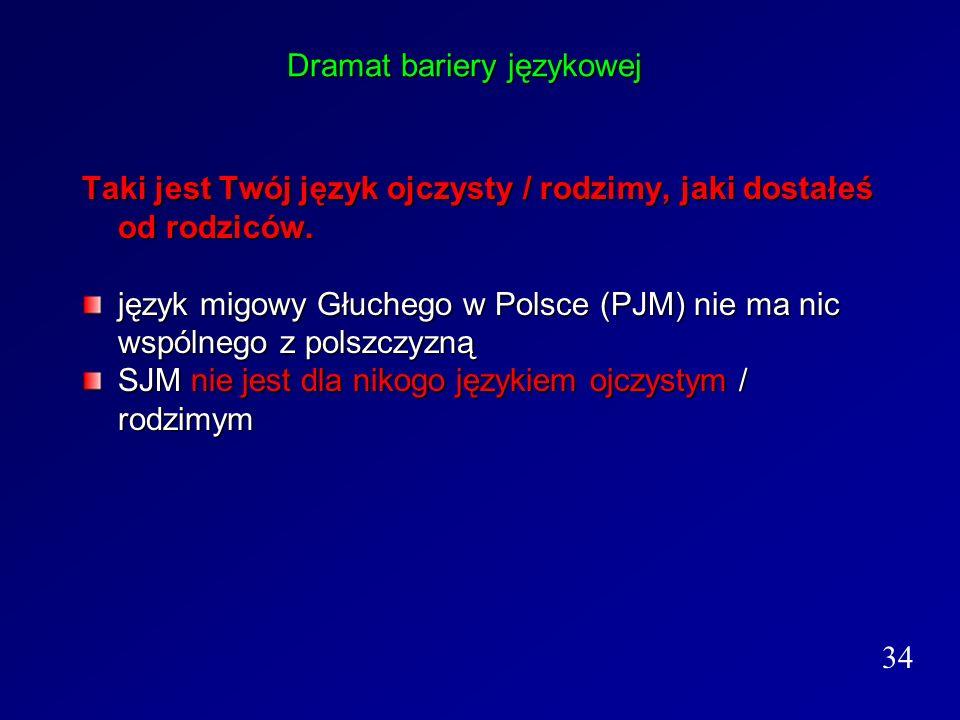 Dramat bariery językowej Taki jest Twój język ojczysty / rodzimy, jaki dostałeś od rodziców. język migowy Głuchego w Polsce (PJM) nie ma nic wspólnego
