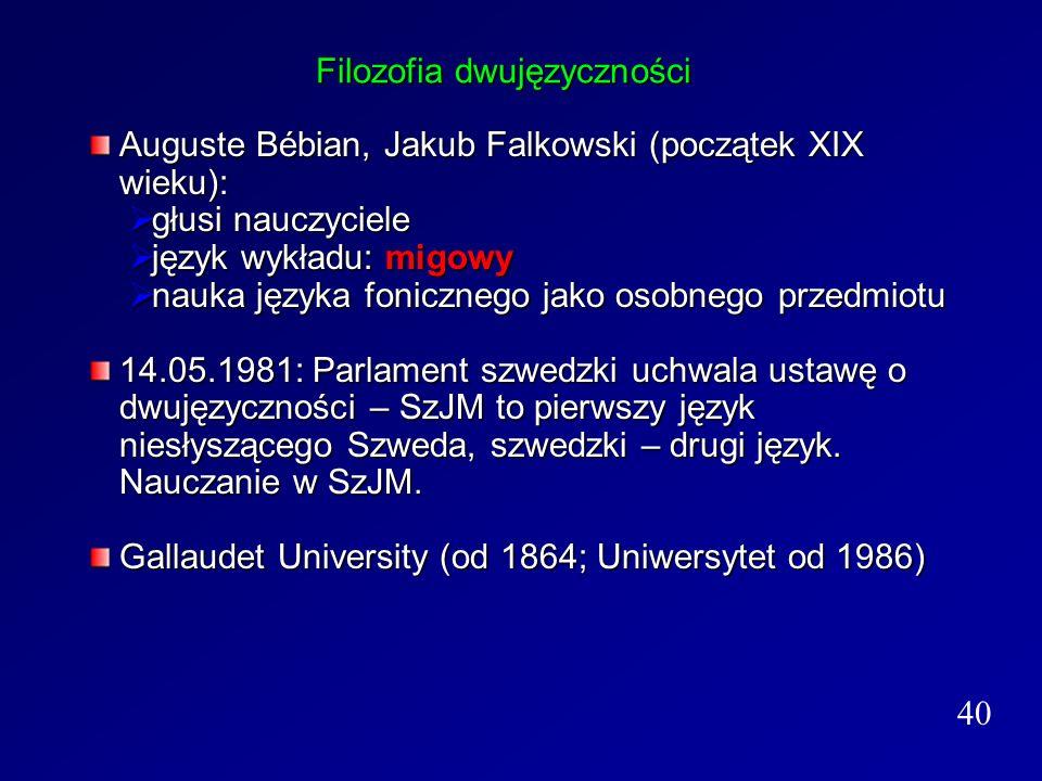 Filozofia dwujęzyczności Auguste Bébian, Jakub Falkowski (początek XIX wieku): głusi nauczyciele głusi nauczyciele język wykładu: migowy język wykładu