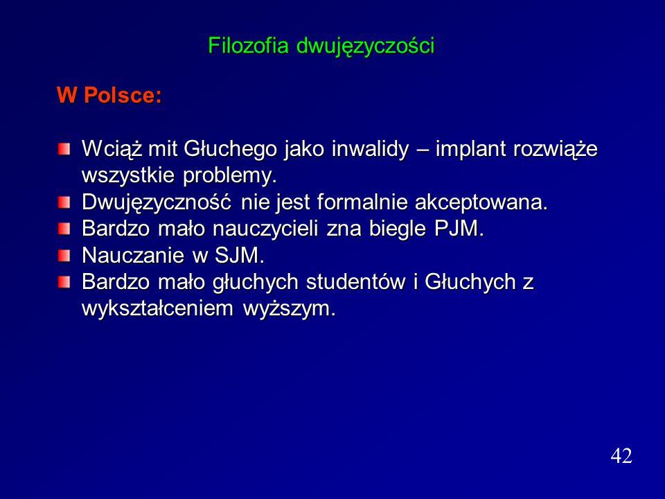 Filozofia dwujęzyczości W Polsce: Wciąż mit Głuchego jako inwalidy – implant rozwiąże wszystkie problemy. Dwujęzyczność nie jest formalnie akceptowana