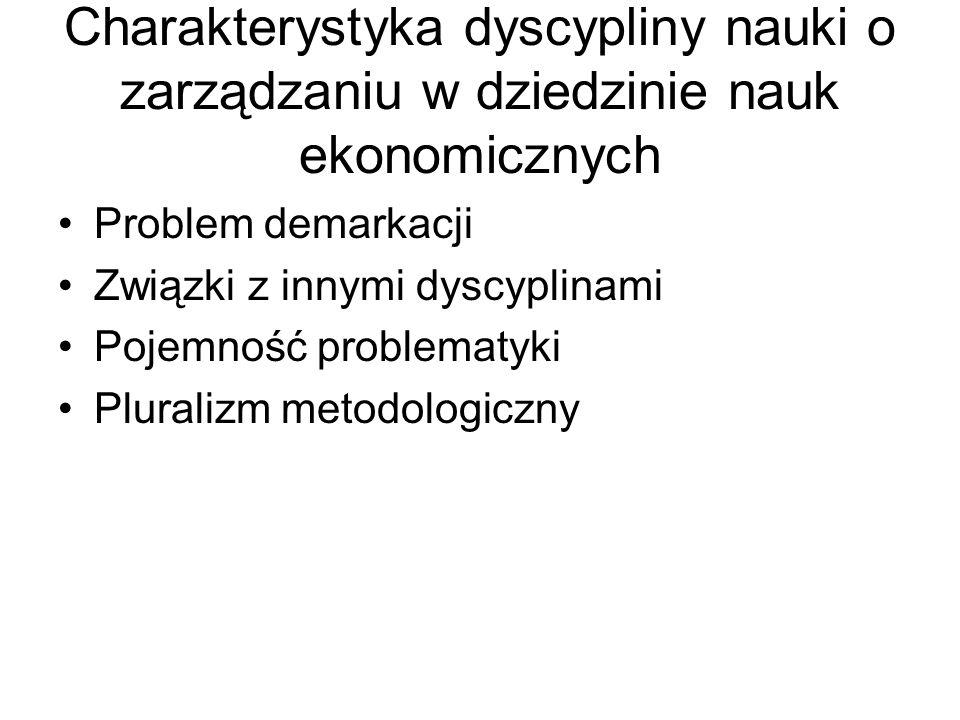 Charakterystyka dyscypliny nauki o zarządzaniu w dziedzinie nauk ekonomicznych Problem demarkacji Związki z innymi dyscyplinami Pojemność problematyki