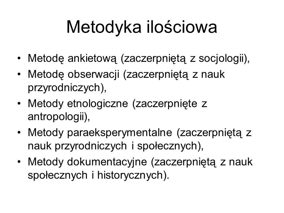 Metodyka ilościowa Metodę ankietową (zaczerpniętą z socjologii), Metodę obserwacji (zaczerpniętą z nauk przyrodniczych), Metody etnologiczne (zaczerpn