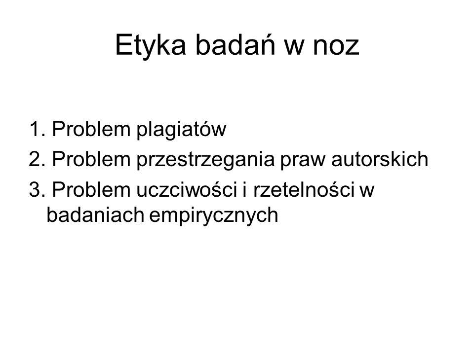 Etyka badań w noz 1. Problem plagiatów 2. Problem przestrzegania praw autorskich 3. Problem uczciwości i rzetelności w badaniach empirycznych