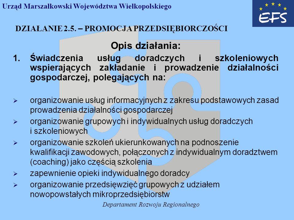 Departament Rozwoju Regionalnego DZIAŁANIE 2.5.