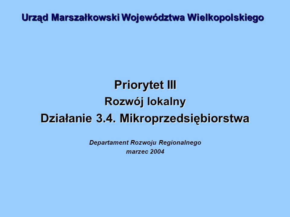 Priorytet III Rozwój lokalny Działanie 3.4.