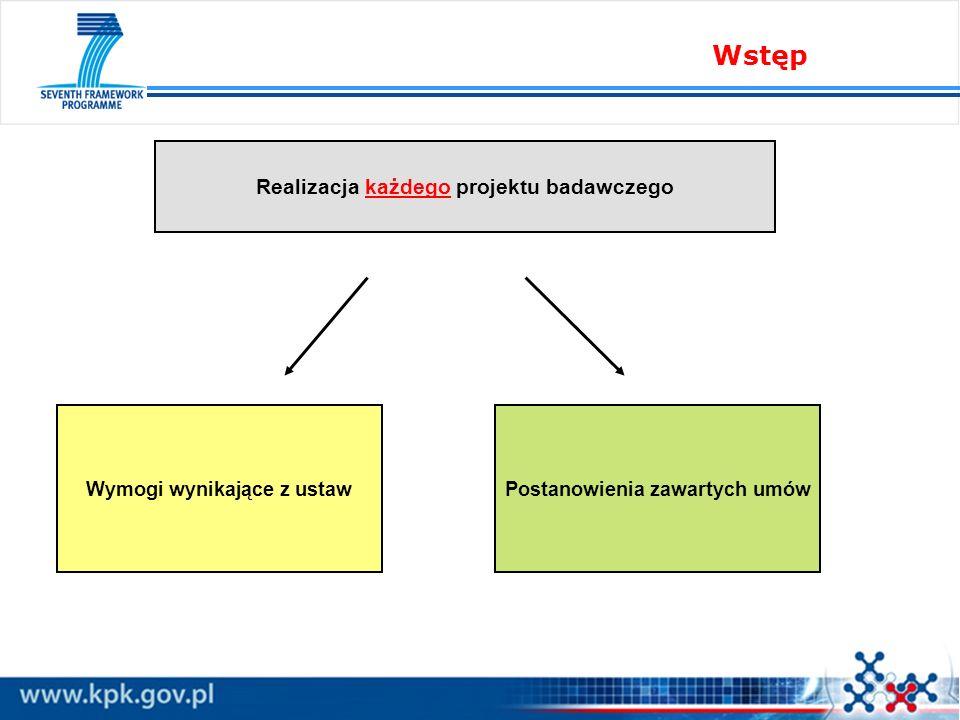 Wstęp Wymogi wynikające z ustawPostanowienia zawartych umów Realizacja każdego projektu badawczego