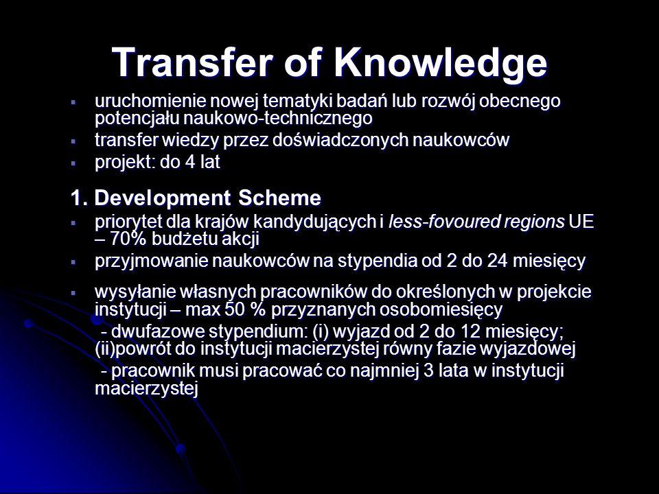 uruchomienie nowej tematyki badań lub rozwój obecnego potencjału naukowo-technicznego uruchomienie nowej tematyki badań lub rozwój obecnego potencjału naukowo-technicznego transfer wiedzy przez doświadczonych naukowców transfer wiedzy przez doświadczonych naukowców projekt: do 4 lat projekt: do 4 lat 1.