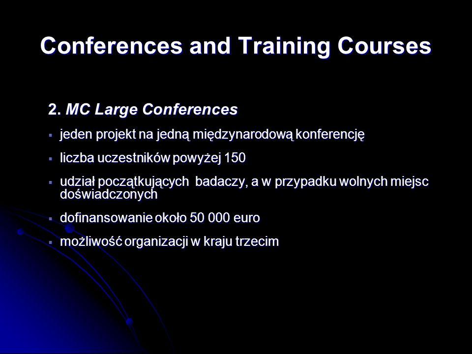 2. MC Large Conferences jeden projekt na jedną międzynarodową konferencję jeden projekt na jedną międzynarodową konferencję liczba uczestników powyżej