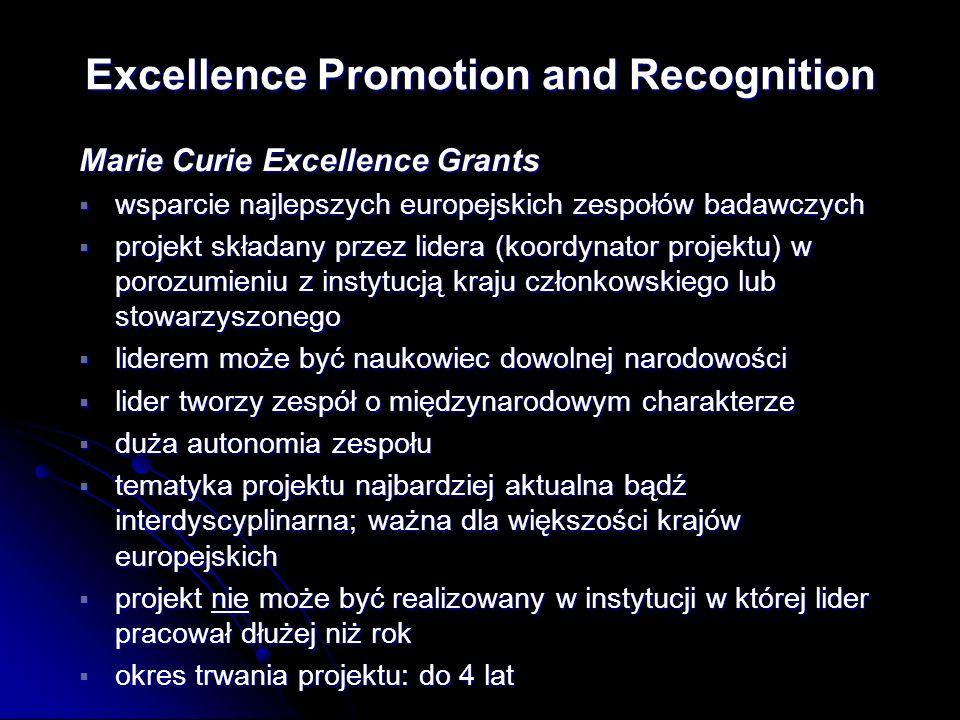 Marie Curie Excellence Grants wsparcie najlepszych europejskich zespołów badawczych wsparcie najlepszych europejskich zespołów badawczych projekt składany przez lidera (koordynator projektu) w porozumieniu z instytucją kraju członkowskiego lub stowarzyszonego projekt składany przez lidera (koordynator projektu) w porozumieniu z instytucją kraju członkowskiego lub stowarzyszonego liderem może być naukowiec dowolnej narodowości liderem może być naukowiec dowolnej narodowości lider tworzy zespół o międzynarodowym charakterze lider tworzy zespół o międzynarodowym charakterze duża autonomia zespołu duża autonomia zespołu tematyka projektu najbardziej aktualna bądź interdyscyplinarna; ważna dla większości krajów europejskich tematyka projektu najbardziej aktualna bądź interdyscyplinarna; ważna dla większości krajów europejskich projekt nie może być realizowany w instytucji w której lider pracował dłużej niż rok projekt nie może być realizowany w instytucji w której lider pracował dłużej niż rok okres trwania projektu: do 4 lat okres trwania projektu: do 4 lat Excellence Promotion and Recognition