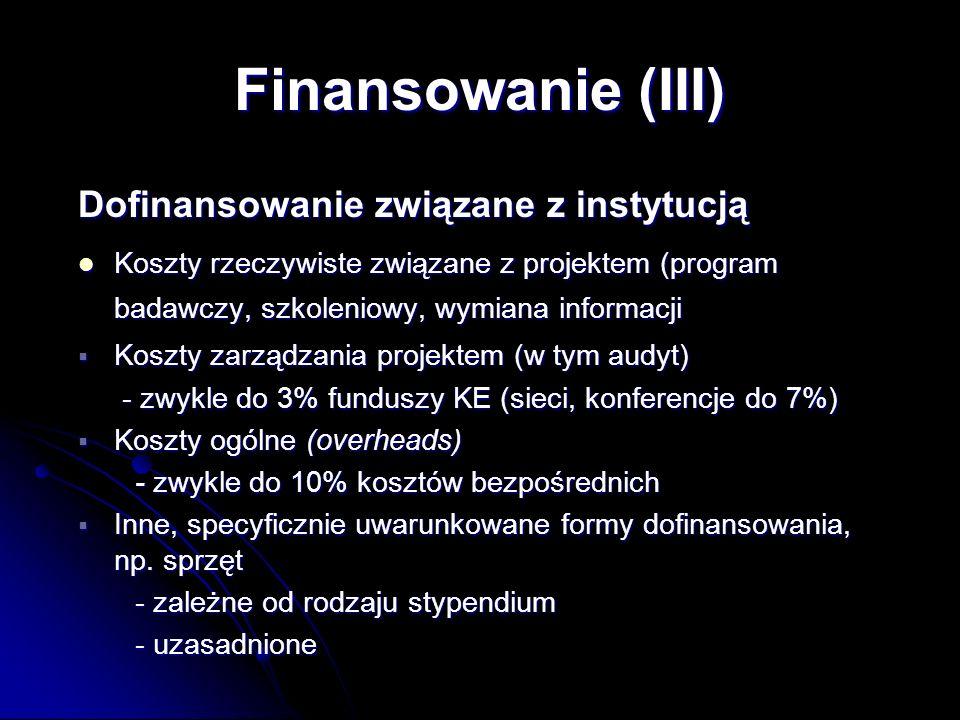 Dofinansowanie związane z instytucją Koszty rzeczywiste związane z projektem (program badawczy, szkoleniowy, wymiana informacji Koszty rzeczywiste związane z projektem (program badawczy, szkoleniowy, wymiana informacji Koszty zarządzania projektem (w tym audyt) Koszty zarządzania projektem (w tym audyt) - zwykle do 3% funduszy KE (sieci, konferencje do 7%) - zwykle do 3% funduszy KE (sieci, konferencje do 7%) Koszty ogólne (overheads) Koszty ogólne (overheads) - zwykle do 10% kosztów bezpośrednich - zwykle do 10% kosztów bezpośrednich Inne, specyficznie uwarunkowane formy dofinansowania, np.