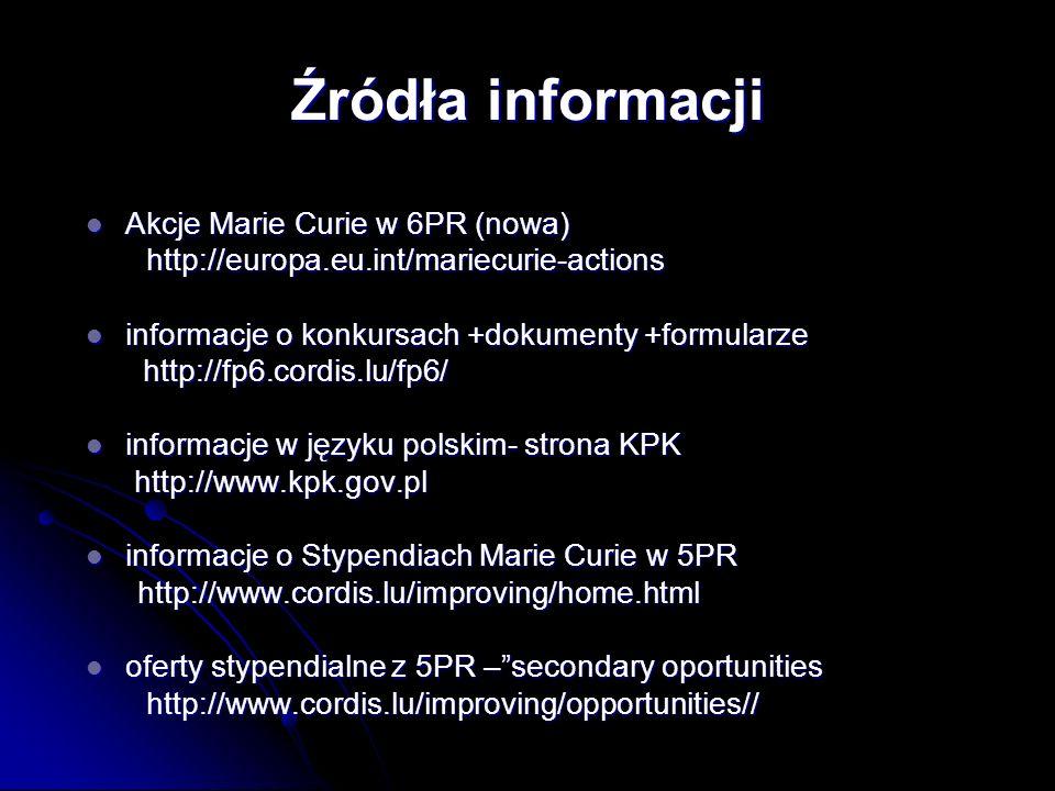 Akcje Marie Curie w 6PR (nowa) Akcje Marie Curie w 6PR (nowa) http://europa.eu.int/mariecurie-actions http://europa.eu.int/mariecurie-actions informacje o konkursach +dokumenty +formularze informacje o konkursach +dokumenty +formularze http://fp6.cordis.lu/fp6/ http://fp6.cordis.lu/fp6/ informacje w języku polskim- strona KPK informacje w języku polskim- strona KPK http://www.kpk.gov.pl http://www.kpk.gov.pl informacje o Stypendiach Marie Curie w 5PR informacje o Stypendiach Marie Curie w 5PR http://www.cordis.lu/improving/home.html http://www.cordis.lu/improving/home.html oferty stypendialne z 5PR –secondary oportunities oferty stypendialne z 5PR –secondary oportunities http://www.cordis.lu/improving/opportunities// http://www.cordis.lu/improving/opportunities// Źródła informacji