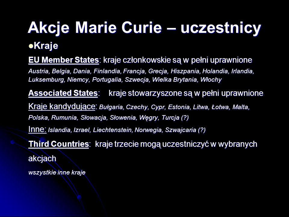 Kraje Kraje EU Member States: kraje członkowskie są w pełni uprawnione Austria, Belgia, Dania, Finlandia, Francja, Grecja, Hiszpania, Holandia, Irlandia, Luksemburg, Niemcy, Portugalia, Szwecja, Wielka Brytania, Włochy Associated States: kraje stowarzyszone są w pełni uprawnione Kraje kandydujące: Bułgaria, Czechy, Cypr, Estonia, Litwa, Łotwa, Malta, Polska, Rumunia, Słowacja, Słowenia, Węgry, Turcja ( ) Inne: Islandia, Izrael, Liechtenstein, Norwegia, Szwajcaria ( ) Third Countries: kraje trzecie mogą uczestniczyć w wybranych akcjach wszystkie inne kraje Akcje Marie Curie – uczestnicy