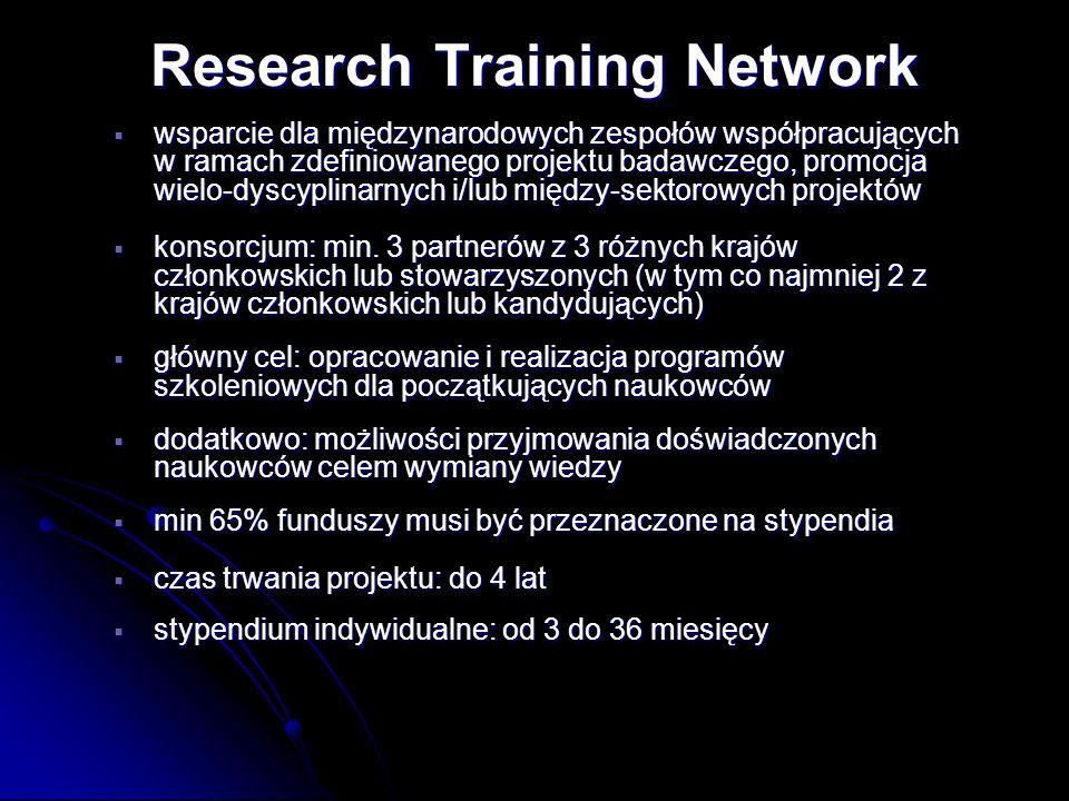 wsparcie dla międzynarodowych zespołów współpracujących w ramach zdefiniowanego projektu badawczego, promocja wielo-dyscyplinarnych i/lub między-sekto