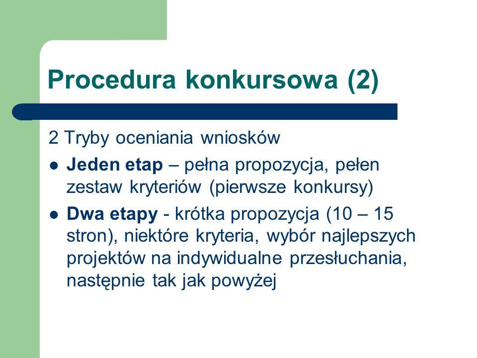 Procedura konkursowa (2) 2 Tryby oceniania wniosków Jeden etap – pełna propozycja, pełen zestaw kryteriów (pierwsze konkursy) Dwa etapy - krótka propo