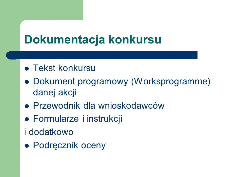 Dokumentacja konkursu Tekst konkursu Dokument programowy (Worksprogramme) danej akcji Przewodnik dla wnioskodawców Formularze i instrukcji i dodatkowo