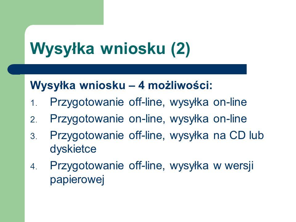 Wysyłka wniosku (2) Wysyłka wniosku – 4 możliwości: 1. Przygotowanie off-line, wysyłka on-line 2. Przygotowanie on-line, wysyłka on-line 3. Przygotowa