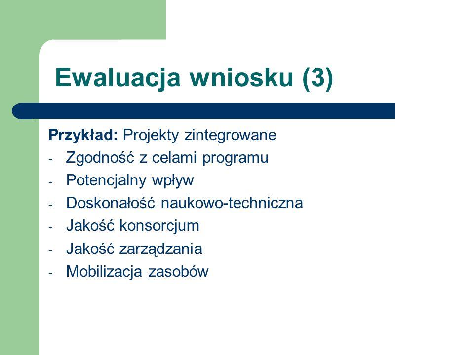 Ewaluacja wniosku (3) Przykład: Projekty zintegrowane - Zgodność z celami programu - Potencjalny wpływ - Doskonałość naukowo-techniczna - Jakość konso