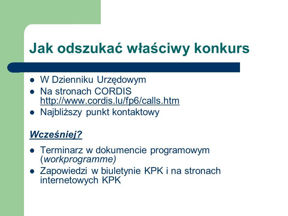 Jak odszukać właściwy konkurs W Dzienniku Urzędowym Na stronach CORDIS http://www.cordis.lu/fp6/calls.htm http://www.cordis.lu/fp6/calls.htm Najbliższ