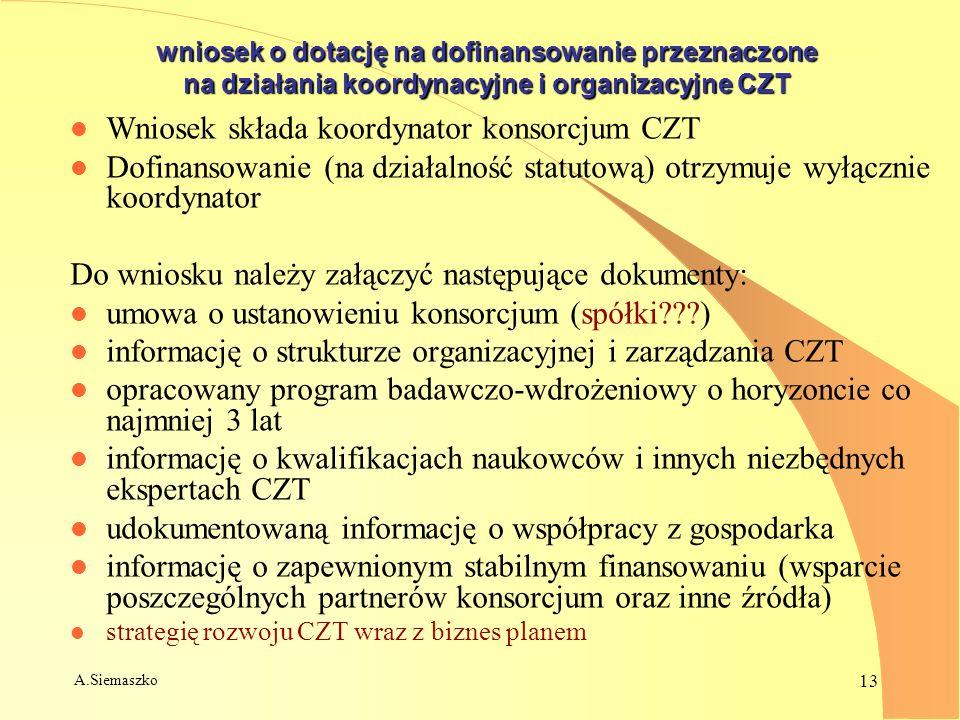 A.Siemaszko 13 wniosek o dotację na dofinansowanie przeznaczone na działania koordynacyjne i organizacyjne CZT l Wniosek składa koordynator konsorcjum