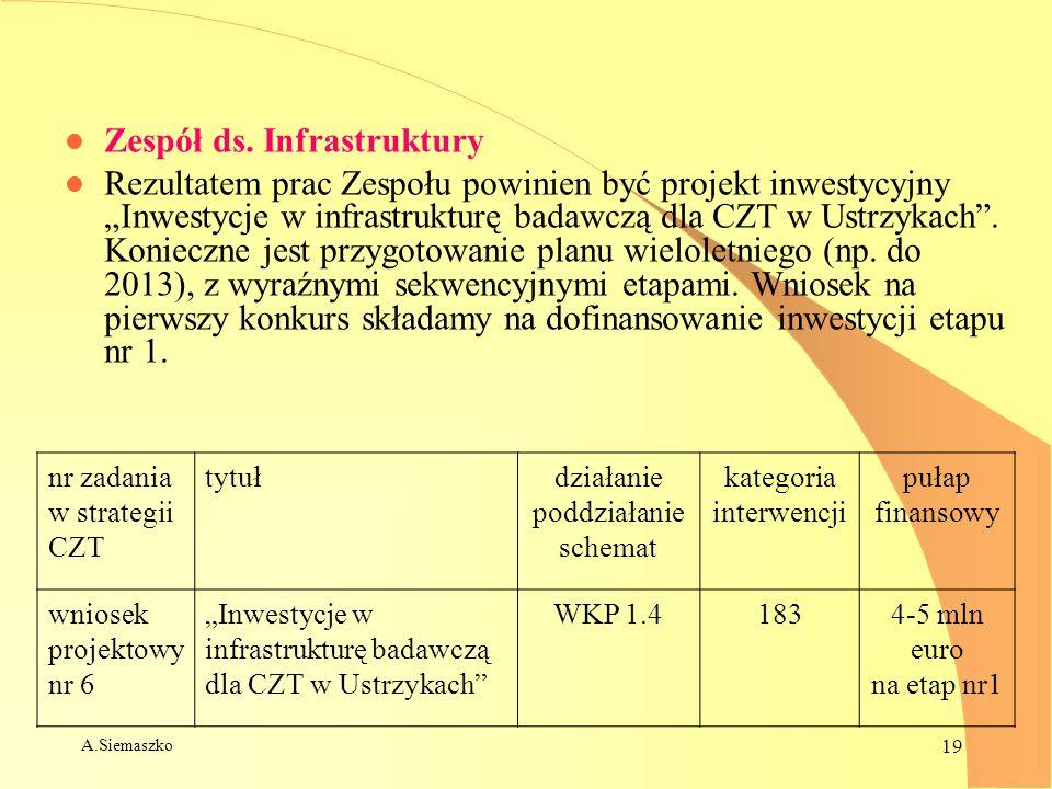 A.Siemaszko 19 l Zespół ds. Infrastruktury l Rezultatem prac Zespołu powinien być projekt inwestycyjny Inwestycje w infrastrukturę badawczą dla CZT w