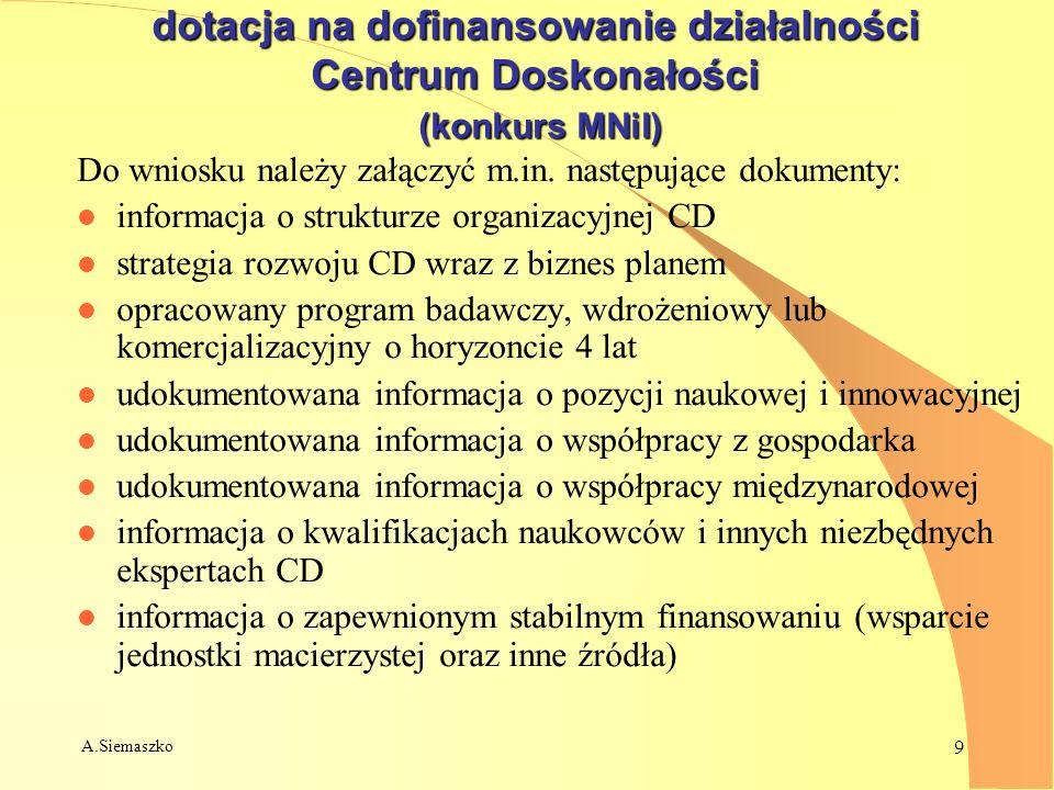 A.Siemaszko 9 dotacja na dofinansowanie działalności Centrum Doskonałości (konkurs MNiI) Do wniosku należy załączyć m.in. następujące dokumenty: l inf