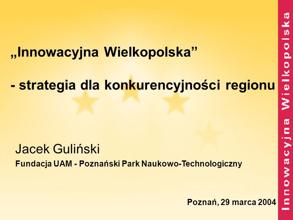 Analiza SWOT - S - sektor B+R duży potencjał intelektualny istnienie bardzo silnego ośrodka badawczo- naukowego w Poznaniu dobre doświadczenia niektórych jednostek B+R w dostosowywaniu się do nowej sytuacji rynkowej dobre przykłady projektów badawczych tworzonych przy współpracy z przedsiębiorstwami dobre przykłady wdrożeń technologii opracowanych w wielkopolskim sektorze B+R