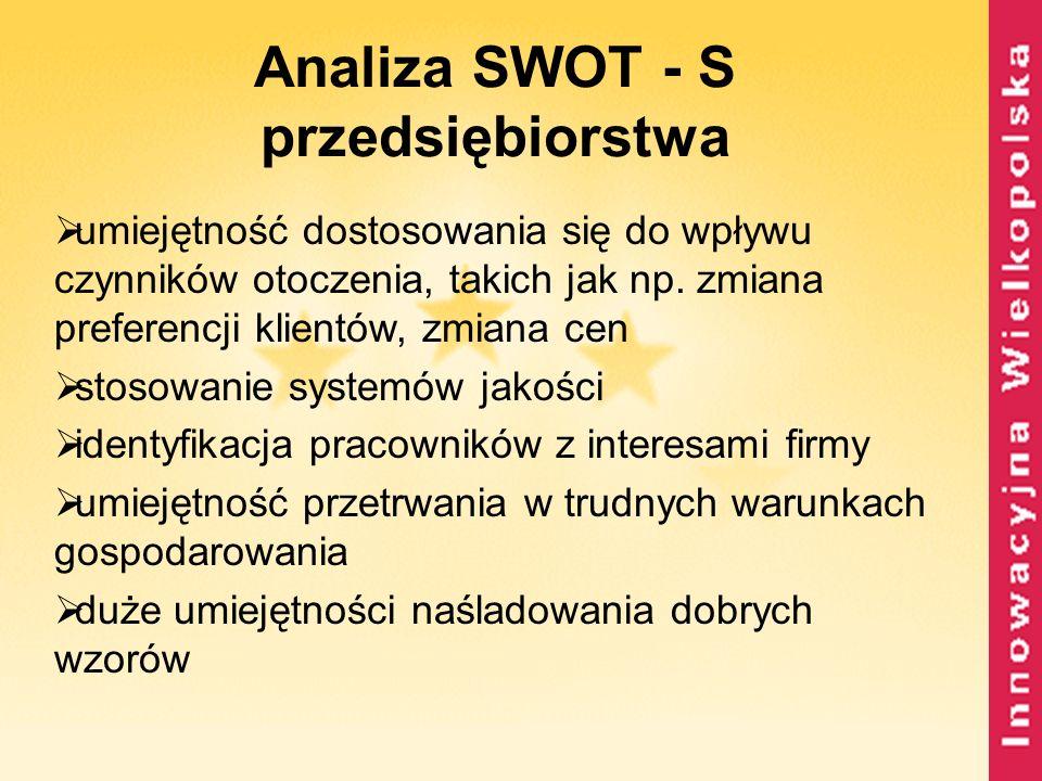 Analiza SWOT - S przedsiębiorstwa umiejętność dostosowania się do wpływu czynników otoczenia, takich jak np. zmiana preferencji klientów, zmiana cen s