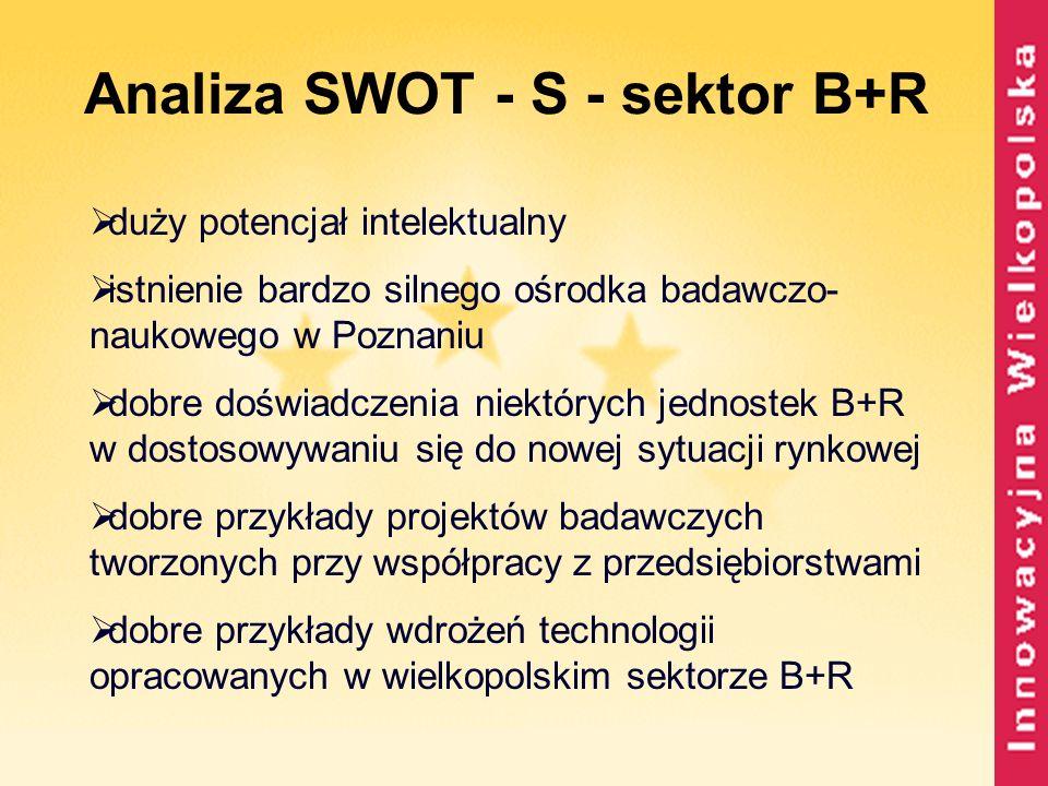 Analiza SWOT - S - sektor B+R duży potencjał intelektualny istnienie bardzo silnego ośrodka badawczo- naukowego w Poznaniu dobre doświadczenia niektór