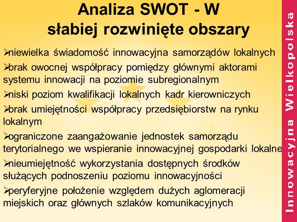 Analiza SWOT - W słabiej rozwinięte obszary niewielka świadomość innowacyjna samorządów lokalnych brak owocnej współpracy pomiędzy głównymi aktorami s