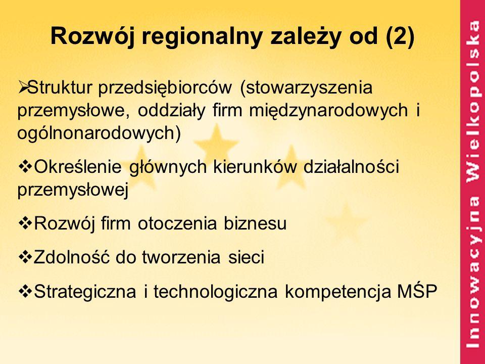 Rozwój regionalny zależy od (2) Struktur przedsiębiorców (stowarzyszenia przemysłowe, oddziały firm międzynarodowych i ogólnonarodowych) Określenie gł