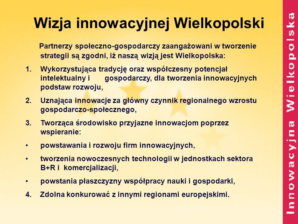Wizja innowacyjnej Wielkopolski Partnerzy społeczno-gospodarczy zaangażowani w tworzenie strategii są zgodni, iż naszą wizją jest Wielkopolska: 1.Wyko