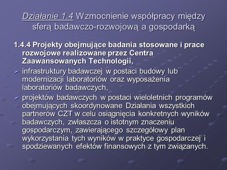 Działanie 1.4 Wzmocnienie współpracy między sferą badawczo-rozwojową a gospodarką 1.4.4 Projekty obejmujące badania stosowane i prace rozwojowe realiz