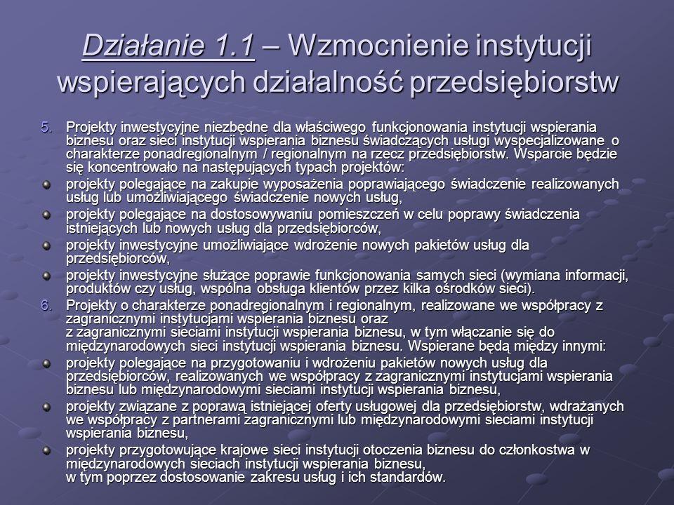 Działanie 1.1 – Wzmocnienie instytucji wspierających działalność przedsiębiorstw 5.Projekty inwestycyjne niezbędne dla właściwego funkcjonowania insty