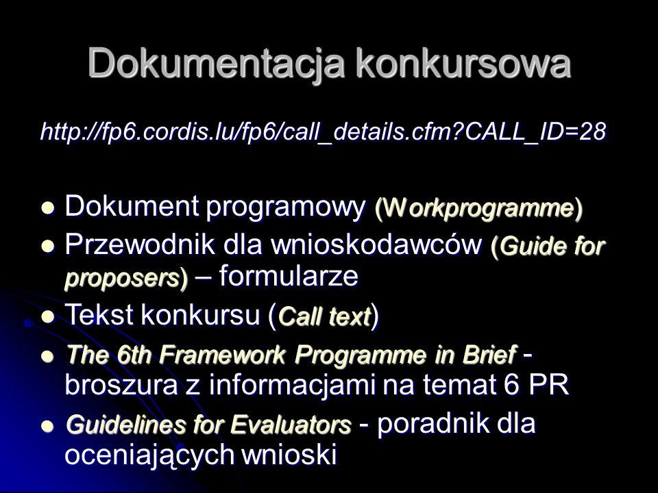 Dokumentacja konkursowa http://fp6.cordis.lu/fp6/call_details.cfm CALL_ID=28 Dokument programowy (Workprogramme) Dokument programowy (Workprogramme) Przewodnik dla wnioskodawców (Guide for proposers) – formularze Przewodnik dla wnioskodawców (Guide for proposers) – formularze Tekst konkursu ( Call text ) Tekst konkursu ( Call text ) The 6th Framework Programme in Brief - broszura z informacjami na temat 6 PR The 6th Framework Programme in Brief - broszura z informacjami na temat 6 PR Guidelines for Evaluators - poradnik dla oceniających wnioski Guidelines for Evaluators - poradnik dla oceniających wnioski