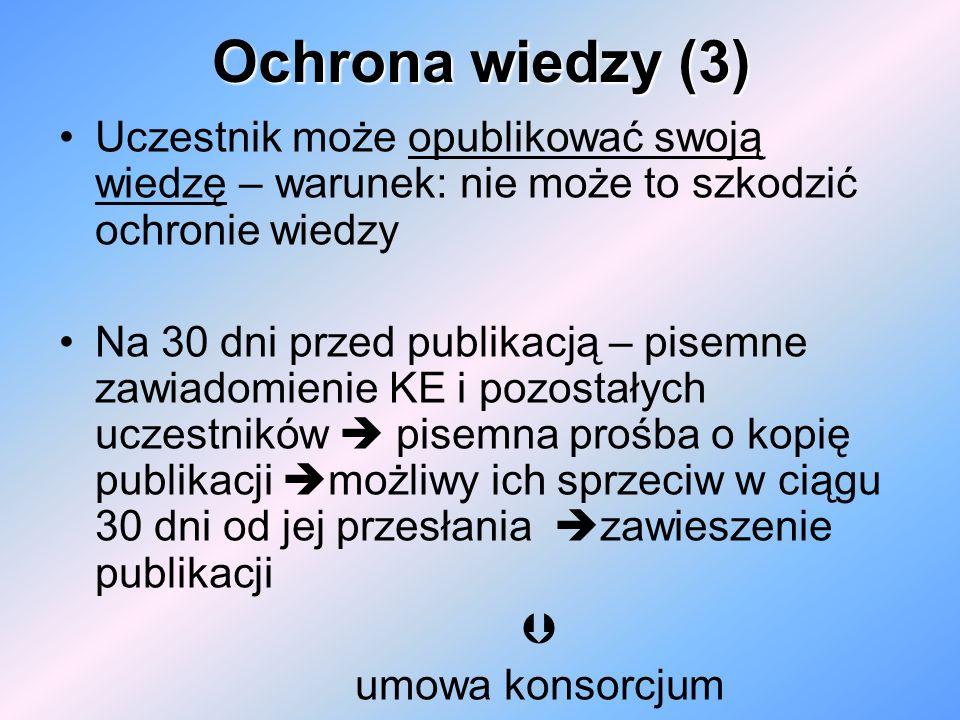 Ochrona wiedzy (3) Uczestnik może opublikować swoją wiedzę – warunek: nie może to szkodzić ochronie wiedzy Na 30 dni przed publikacją – pisemne zawiad