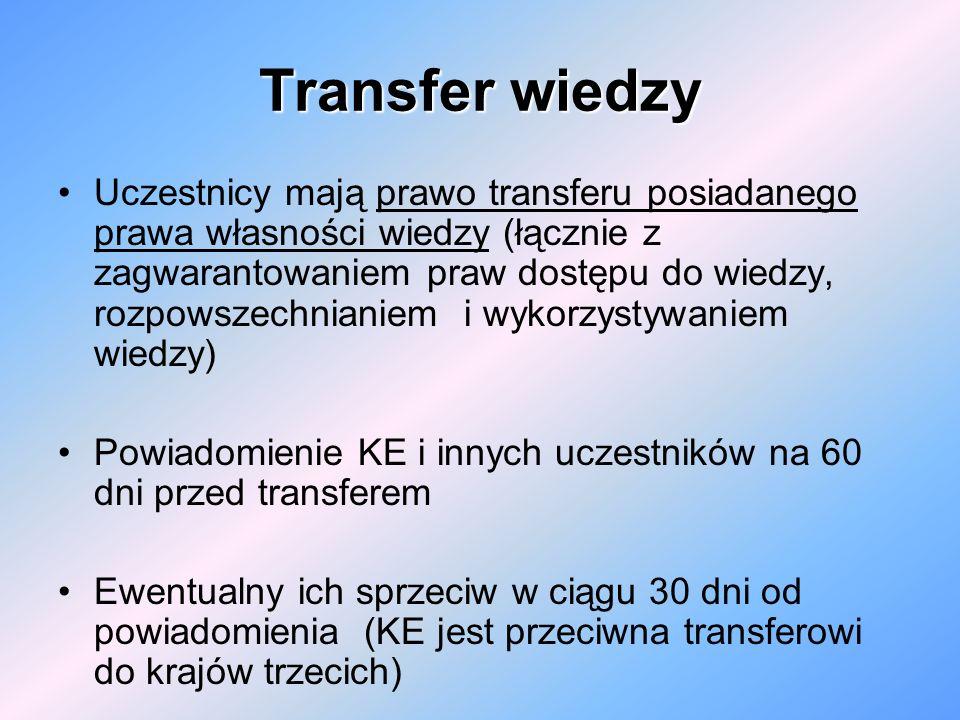 Transfer wiedzy Uczestnicy mają prawo transferu posiadanego prawa własności wiedzy (łącznie z zagwarantowaniem praw dostępu do wiedzy, rozpowszechnian