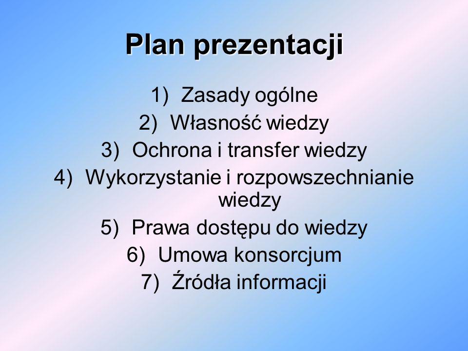 Plan prezentacji 1)Zasady ogólne 2)Własność wiedzy 3)Ochrona i transfer wiedzy 4)Wykorzystanie i rozpowszechnianie wiedzy 5)Prawa dostępu do wiedzy 6)