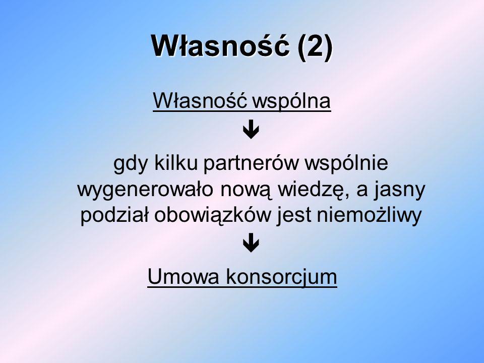 Własność(2) Własność (2) Własność wspólna gdy kilku partnerów wspólnie wygenerowało nową wiedzę, a jasny podział obowiązków jest niemożliwy Umowa kons