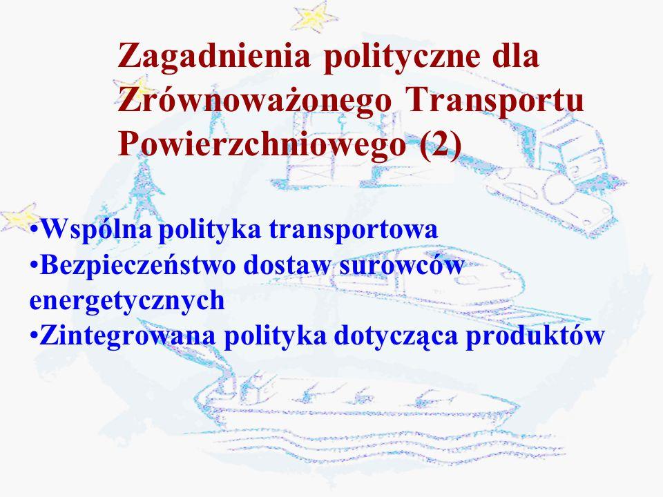 Zrównoważony system transportu obejmuje: 3.Rozwój gospodarczy i przemysłowy 1.