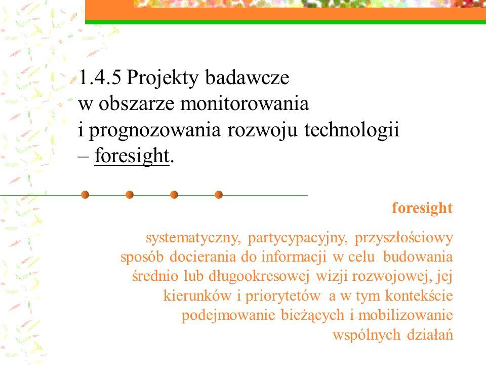 1.4.5 Projekty badawcze w obszarze monitorowania i prognozowania rozwoju technologii – foresight.