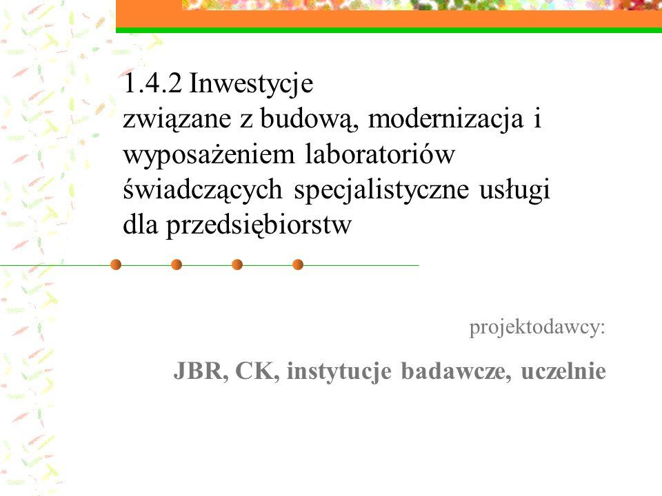 1.4.2 Inwestycje związane z budową, modernizacja i wyposażeniem laboratoriów świadczących specjalistyczne usługi dla przedsiębiorstw projektodawcy: JBR, CK, instytucje badawcze, uczelnie