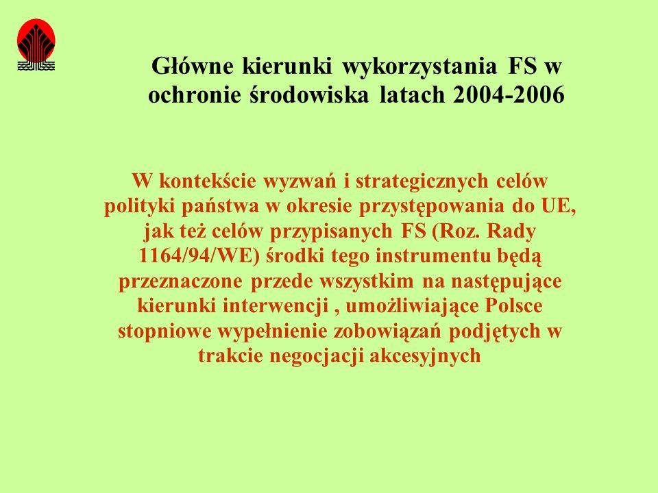 Główne kierunki wykorzystania FS w ochronie środowiska latach 2004-2006 W kontekście wyzwań i strategicznych celów polityki państwa w okresie przystęp
