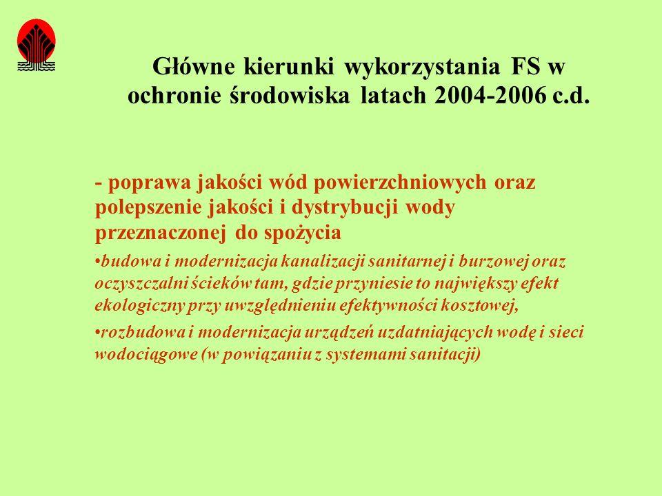Główne kierunki wykorzystania FS w ochronie środowiska latach 2004-2006 c.d. - poprawa jakości wód powierzchniowych oraz polepszenie jakości i dystryb