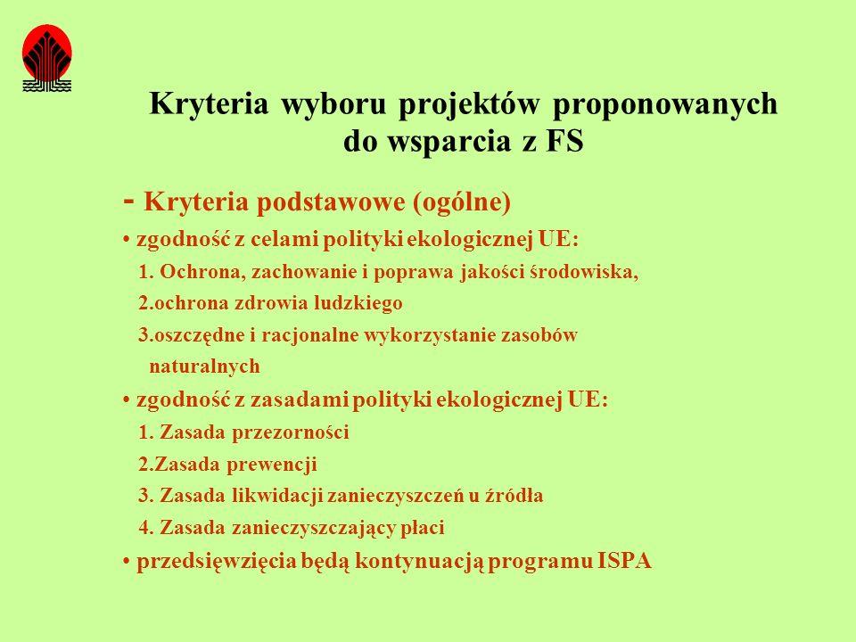 Kryteria wyboru projektów proponowanych do wsparcia z FS - Kryteria podstawowe (ogólne) zgodność z celami polityki ekologicznej UE: 1. Ochrona, zachow