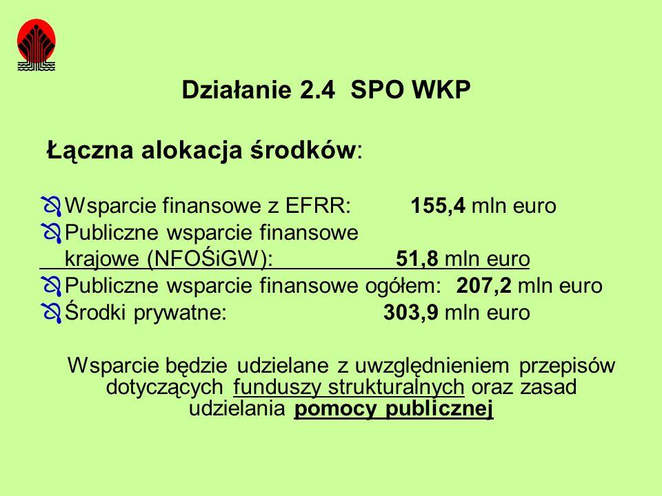 Łączna alokacja środków: Wsparcie finansowe z EFRR: 155,4 mln euro Publiczne wsparcie finansowe krajowe (NFOŚiGW): 51,8 mln euro Publiczne wsparcie fi
