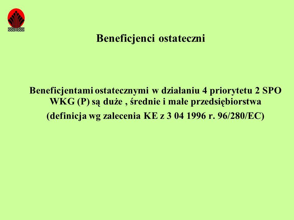 Beneficjenci ostateczni Beneficjentami ostatecznymi w działaniu 4 priorytetu 2 SPO WKG (P) są duże, średnie i małe przedsiębiorstwa (definicja wg zale