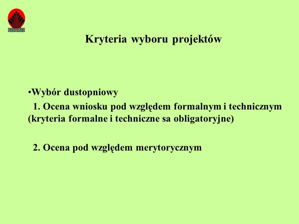 Kryteria wyboru projektów Wybór dustopniowy 1. Ocena wniosku pod względem formalnym i technicznym (kryteria formalne i techniczne sa obligatoryjne) 2.