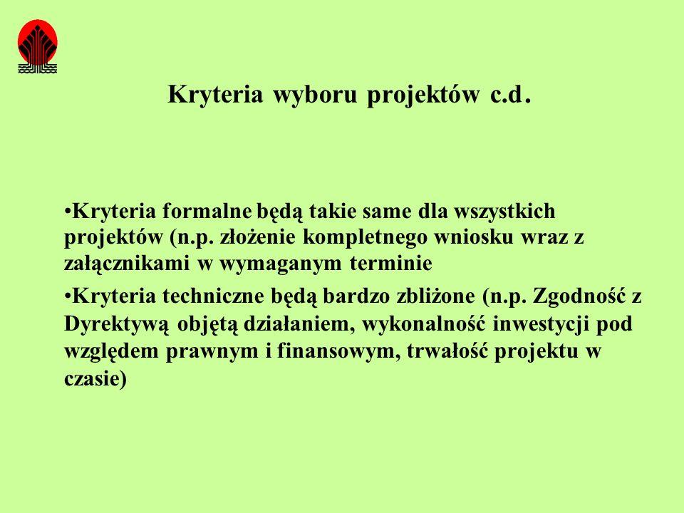 Kryteria wyboru projektów c.d. Kryteria formalne będą takie same dla wszystkich projektów (n.p. złożenie kompletnego wniosku wraz z załącznikami w wym